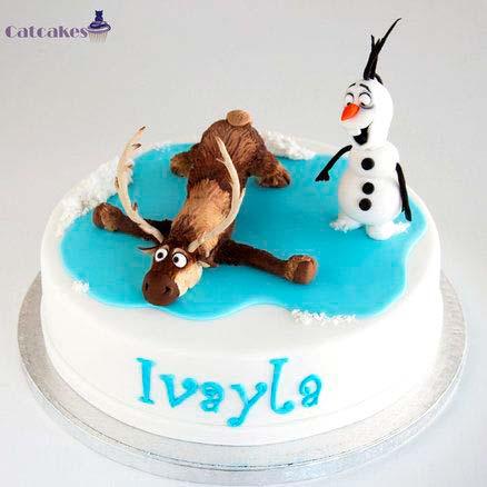 Tarta_Reno_Muneco_Nieve_Frozen_PintandoUnaMama