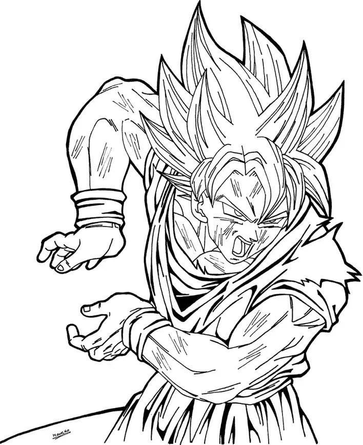 ¡quién no conoce a goku! Goku para colorear, pintar e imprimir