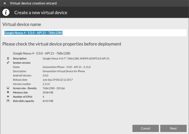 Install virtual device
