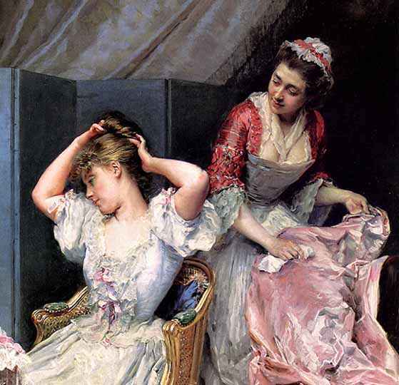 Mujer retratada al estilo neoclásico por De Madrazo y Garreta.
