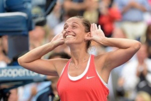 September 11, 2015 - Roberta Vinci celebrates her win over Serena Williams in a women's singles semifinal match during the 2015 US Open at the USTA Billie Jean King National Tennis Center in Flushing, NY. (USTA/Pete Staples)