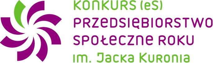 Napisy konkurs (eS] Przedsiębiorstwo Społeczne Roku im. Jacaka Kuronia z lewej strony grafika przypominająca kielich kwiata