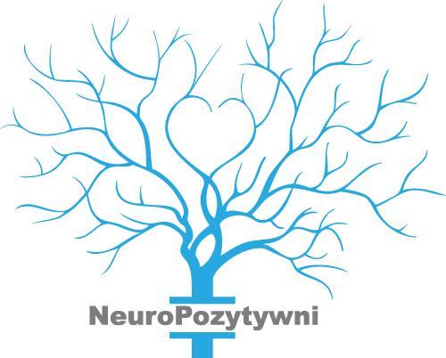 logo fundacji NeuroPozytywni –neurony układające się w koronę drzewa. Serce pośrodku