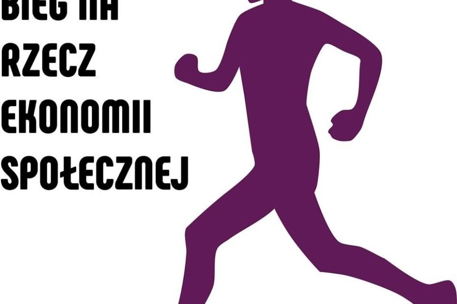 Po lewej napis Bieg na rzecz ekonomii społecznej, po prawej narysowano fioletowego, biegnącego ludzika