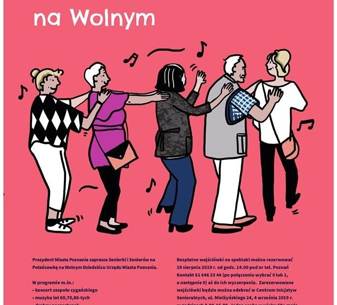 Plakat promujący Potańcówkę na Wolnym Dziedzińcu Urzędu Miasta Poznania