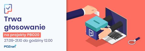 Grafika promująca głosowanie w ramach Poznańskiego Budżetu Obywatelskiego. Po prawej ręka wrzucająca głos do urny. Po lewej terminy głosowania