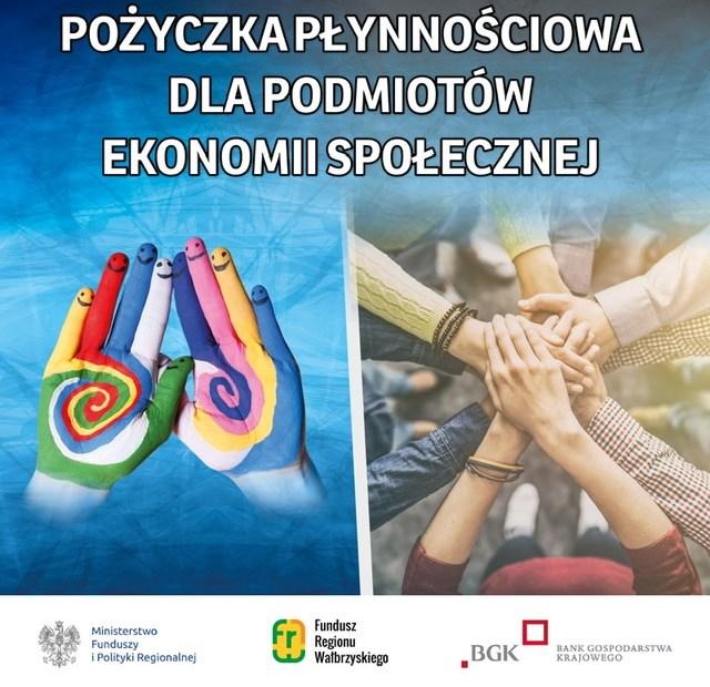 Plakat promujący pożyczki płynnościowe dla Podmiotów Ekonomii Społecznej