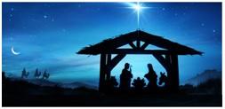 Na zdjęciu Maryja z Józefem w szopce Betlejemskiej. Po lewej stronie widać sylwetki Trzech Króli. Ciemna kolorystyka