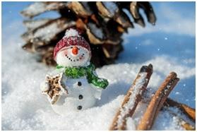 Na zdjęciu zimowy krajobraz - pośrodku bałwan w czapce i szaliku
