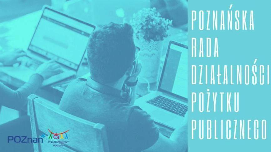Plakat promujący posiedzenie Poznańskiej Rady Działalności Pożytku Publicznego