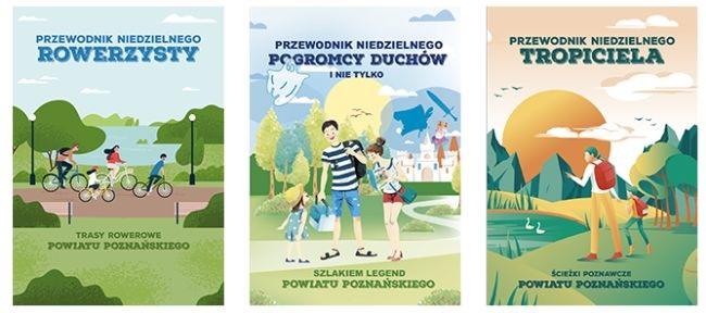 Grafika zawierająca okładki trzech nowych publikacji powiatu poznańskiego przygotowanych na ferie zimowe w 2021 r.