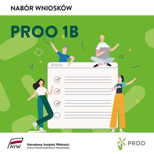 Plakat informujący o naborze do konkursu Program Rozwoju Organizacji Obywatelskich, Priorytet 1b.
