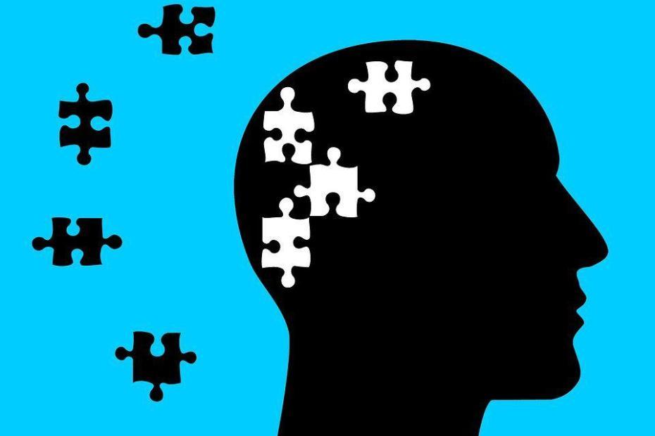 Rysunek, głowa z puzzlami