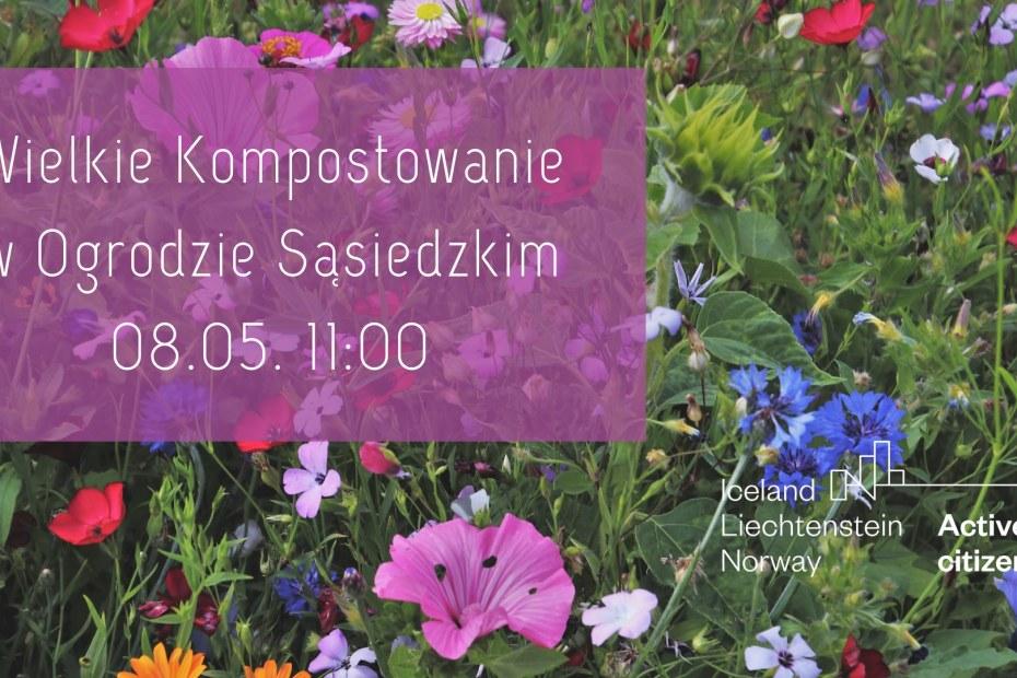 Plakat promujący Wielkie kompostowanie w Ogrodzie sąsiedzkim