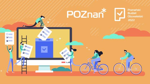 Plakat z logiem miasta Poznania informujący o Poznańskim Budżecie Obywatelskim