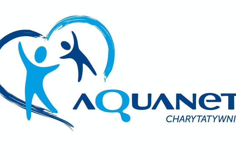 Plakat z napisem Aquanet Charytatywnie