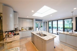 skylight glass in kitchen