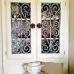 Faux Wrought Iron Decorative Grille Cabinet