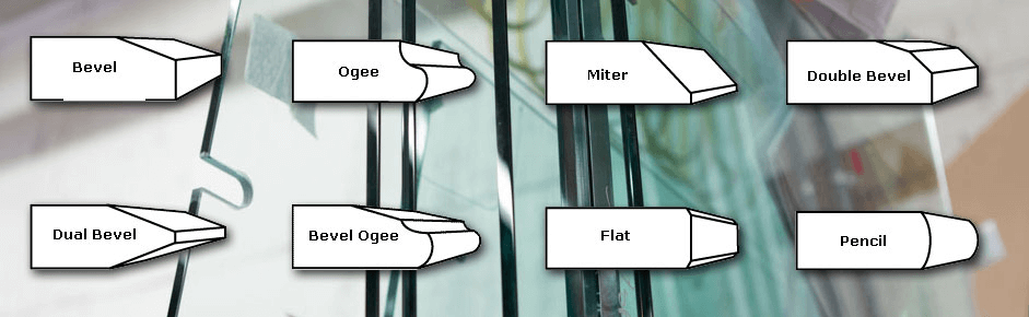 Edge profile types: bevel, Ogee, Miter, Double Bevel, Dual Bevel, Bevel Ogee, Flat, Pencil.