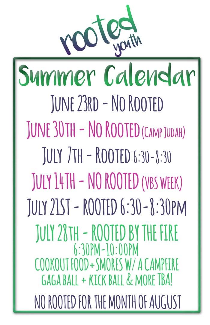 rooted summer calendar