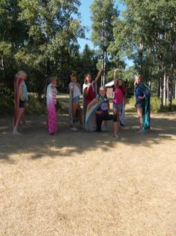 Alberta Camp Cherith Girls Near Cabin with Beach Towel Capes