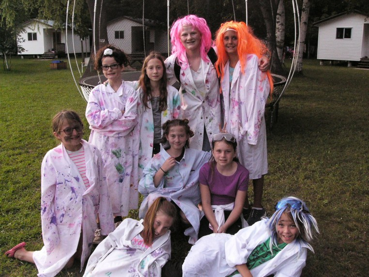 Ontario Camp Cherithgirls in robes and colorful wigs