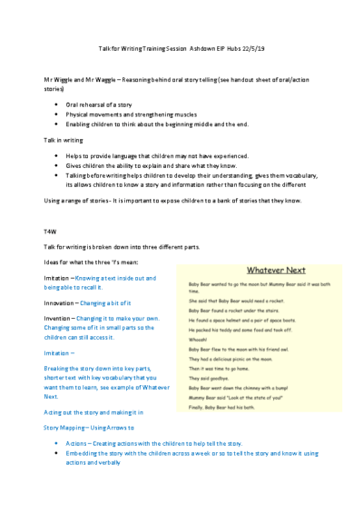 Talk for Writing Training Session Notes Ashdown EIP Hubs 22.5.19