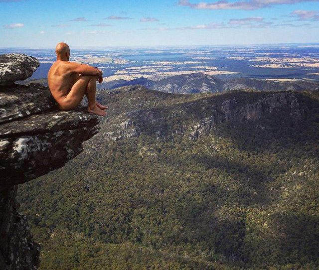 Erik The Australian Naked Hiker Sitting On The Edge Of The Cliff With