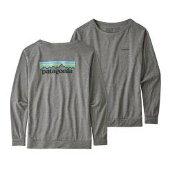Patagonia Long-Sleeved Pastel P-6 Logo Responsibili-Tee® Gravel Heather GLH