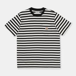 Carhartt Parker Pocket T-Shirt Parker Stripe, Black / Wax