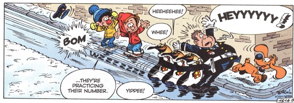 Bill and Buddy and the penguins sliding down the street when the circus gets to town.