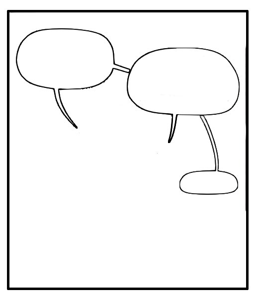 Word balloon tails crossing under a balloon