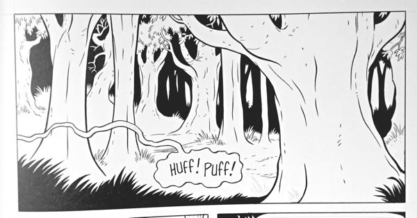 Jeff Smith spots blacks in Bone in this scene with just the forest