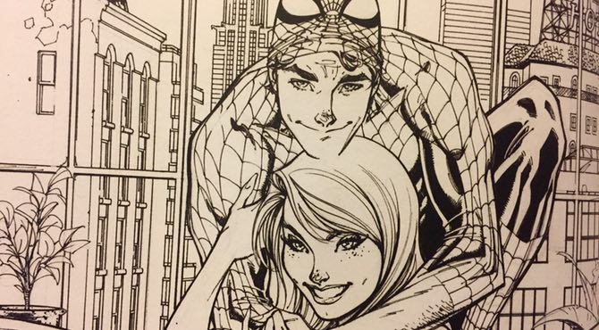 J Scott Campbell draws Spider-Man and Mary Jane at home
