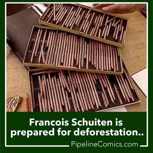 Francois Schuiten owns an awful lot of pencils.