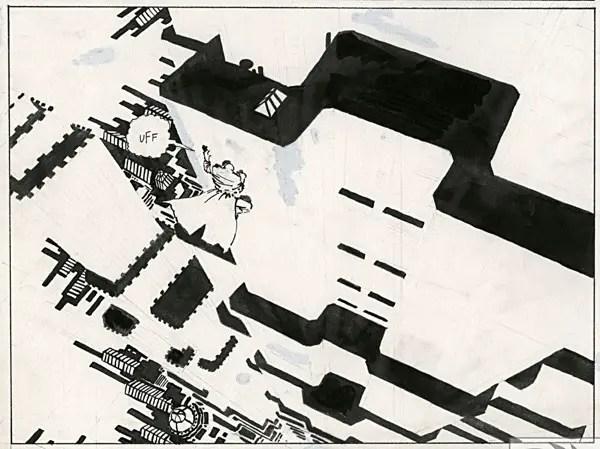 Marv overhead negative building in Sin City Curator's Edition