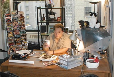 Joe Quesada raises a Cup of Joe in 2000