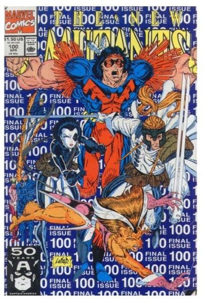 New Mutants #100 cover by Rob Liefeld for Marvel Comics