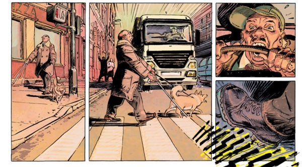 A sequence in which Superdupont parodies the Daredevil origin