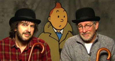 Steven Spielberg and Peter Jackson with Tintin
