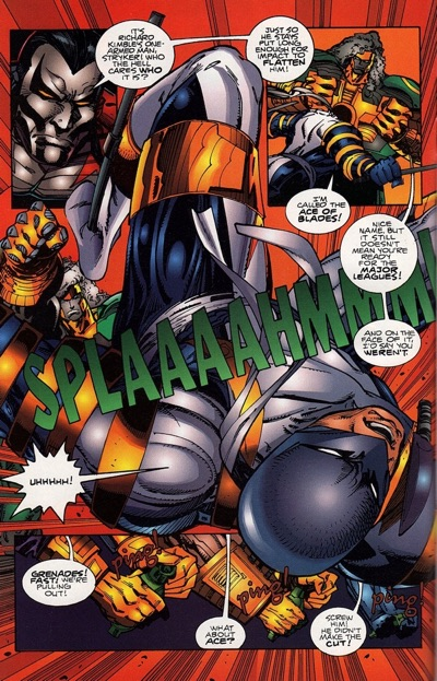 """One Last Coloring Note Joe Chiodo is the series colorist on CyberForce, much the same as he was on WildC.A.T.s as of its second issue. I think he does a better job on this series than he did on WildC.A.T.s, but I still have a problem with the colors running too dark os much of the time. With CyberForce, it's an issue that persisted well into the on-going series until Brian Haberlin took over coloring duties and brightened things up a bit. Haberlin moved slowly into that position over the months, getting credits as """"Computer Colorist"""" after Chiodo's """"Coloring"""" credits. I'm guessing """"Computer Colorist"""" did the separations and maybe some extra special effects. Eventually, Haberlin took it all over, and I think that's for the best. Walt Simonson did a one shot, CyberForce #0, after this. He does his best Silvestri impersonation in it, with full page splashes of characters being energetic, lots of speedlines, and a few inset panels to carry the story. It's just not a look that's particularly good for Simonson, who is a great page designer and a strong artist who works best with less raw layouts. It's just too much stuff in your face on each page."""