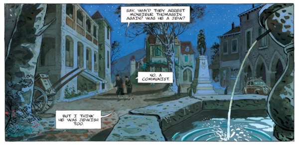 Gibrat's color and composition skills show in this panel from the center of town