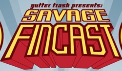 Logo for Savage Fincast Podcast with Erik Larsen talking The Savage Dragon