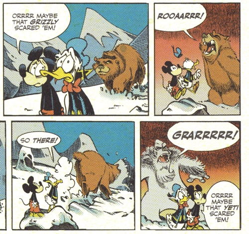Mickey Mouse and Donald Duck yell at bears and Yetis to scare them away
