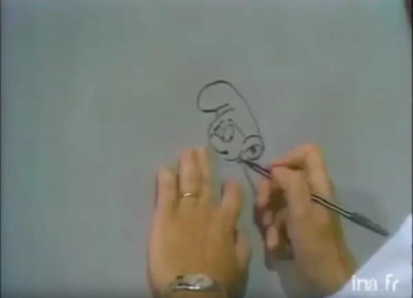 Peso drawing a Smurf