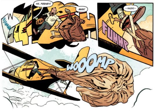 Chris Samnee lettering for The Rocketeer includes a panel border of special effects lettering.