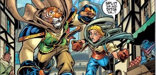 Tellos #1 Page 4 detail of Jarek and Koj on the run