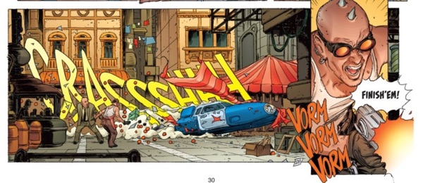 Thierry Lacrosse draws great car action sequences, like this crash