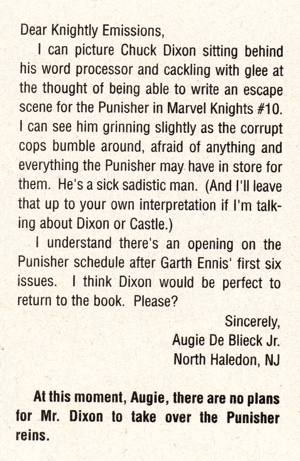 Marvel Knights #11 letters column presages the Chuck Dixon difficulties?