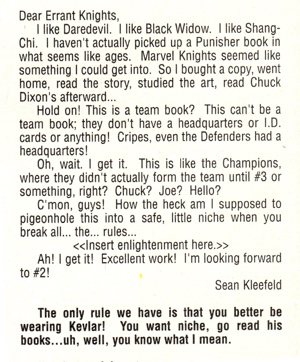 Marvel Knights #2 Sean Kleefeld letter